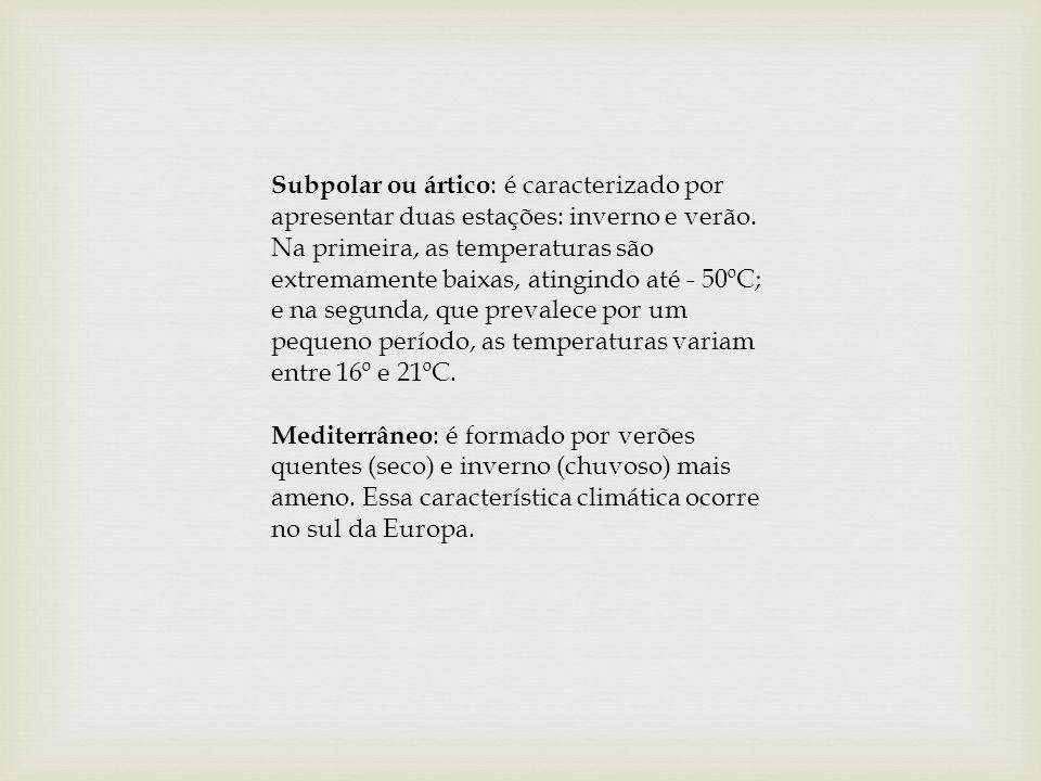 Subpolar ou ártico : é caracterizado por apresentar duas estações: inverno e verão. Na primeira, as temperaturas são extremamente baixas, atingindo at
