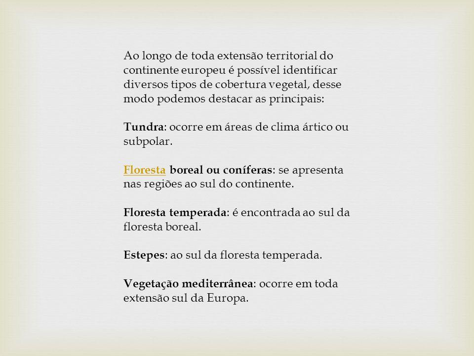 Ao longo de toda extensão territorial do continente europeu é possível identificar diversos tipos de cobertura vegetal, desse modo podemos destacar as