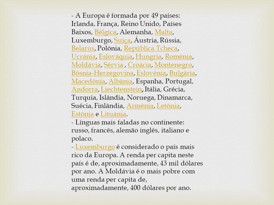 - A Europa é formada por 49 países: Irlanda, França, Reino Unido, Países Baixos, Bélgica, Alemanha, Malta, Luxemburgo, Suíça, Áustria, Rússia, Belarus