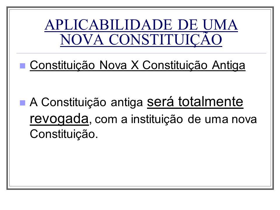 APLICABILIDADE DE UMA NOVA CONSTITUIÇÃO Constituição Nova X Constituição Antiga A Constituição antiga será totalmente revogada, com a instituição de u