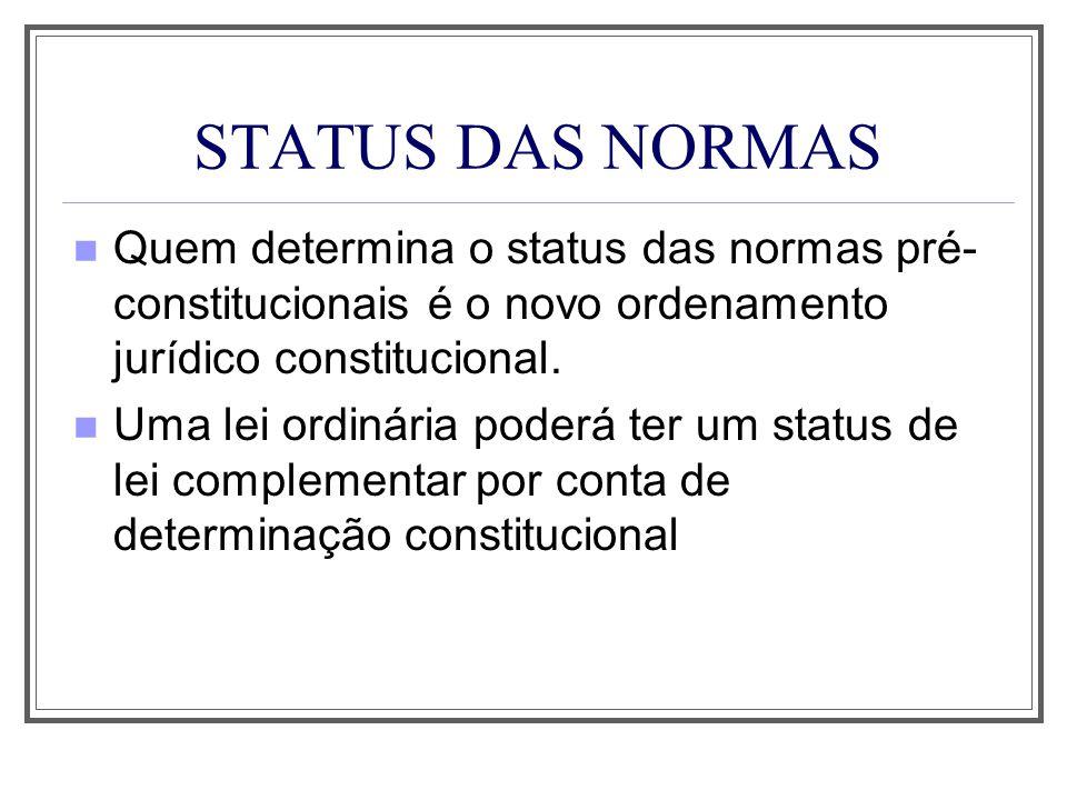 STATUS DAS NORMAS Quem determina o status das normas pré- constitucionais é o novo ordenamento jurídico constitucional. Uma lei ordinária poderá ter u