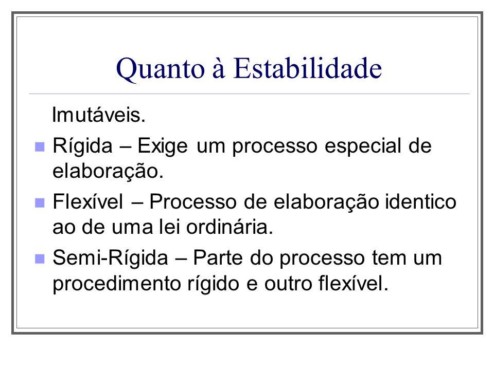 Quanto à Estabilidade Imutáveis. Rígida – Exige um processo especial de elaboração. Flexível – Processo de elaboração identico ao de uma lei ordinária