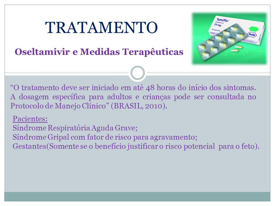 """TRATAMENTO Oseltamivir e Medidas Terapêuticas """"O tratamento deve ser iniciado em até 48 horas do início dos sintomas. A dosagem específica para adulto"""