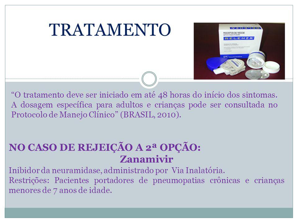 """TRATAMENTO """"O tratamento deve ser iniciado em até 48 horas do início dos sintomas. A dosagem específica para adultos e crianças pode ser consultada no"""