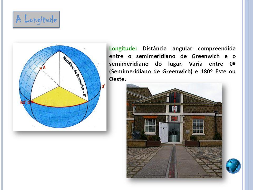 Longitude: Distância angular compreendida entre o semimeridiano de Greenwich e o semimeridiano do lugar. Varia entre 0º (Semimeridiano de Greenwich) e