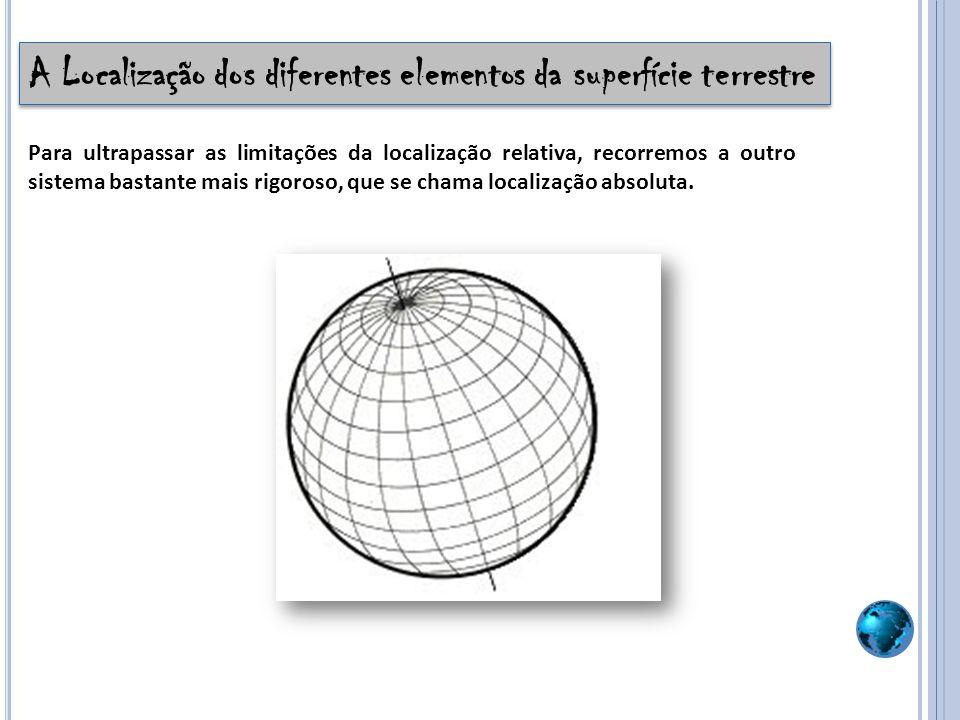 A Localização Absoluta A localização absoluta é a localização que se baseia em distâncias angulares designadas por coordenadas geográficas (Latitude, Longitude e a Altitude).
