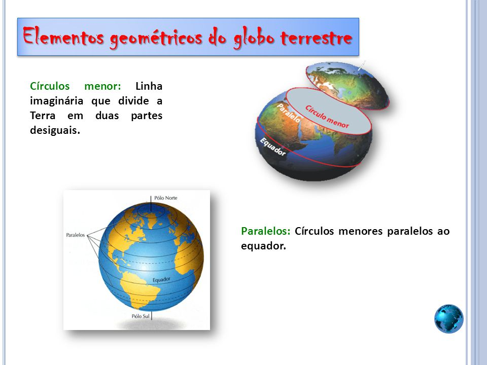 Paralelos: Círculos menores paralelos ao equador. Círculos menor: Linha imaginária que divide a Terra em duas partes desiguais. Elementos geométricos