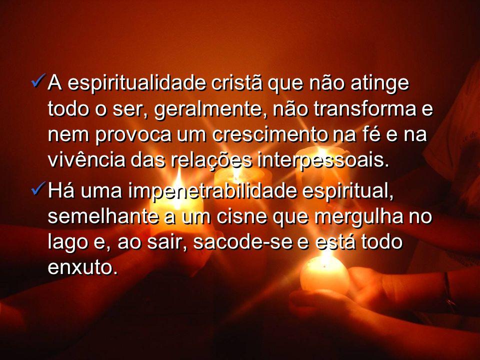 A espiritualidade cristã que não atinge todo o ser, geralmente, não transforma e nem provoca um crescimento na fé e na vivência das relações interpessoais.