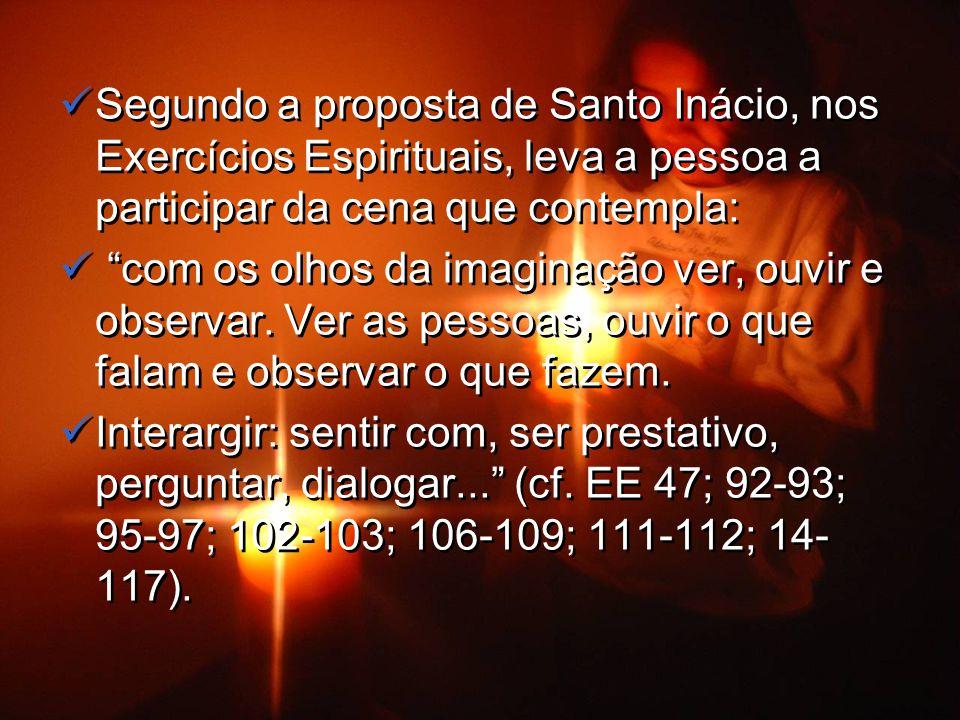 Segundo a proposta de Santo Inácio, nos Exercícios Espirituais, leva a pessoa a participar da cena que contempla: com os olhos da imaginação ver, ouvir e observar.