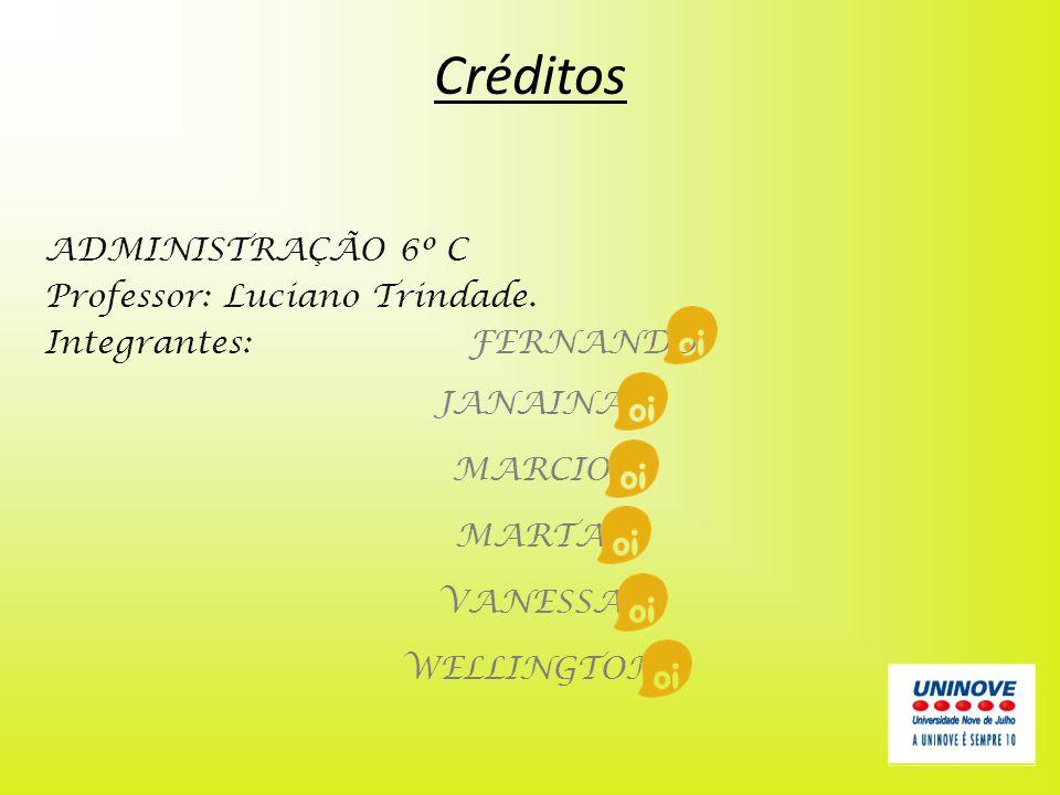 Créditos ADMINISTRAÇÃO 6º C Professor: Luciano Trindade. Integrantes:FERNANDO JANAINA MARCIO MARTA VANESSA WELLINGTON