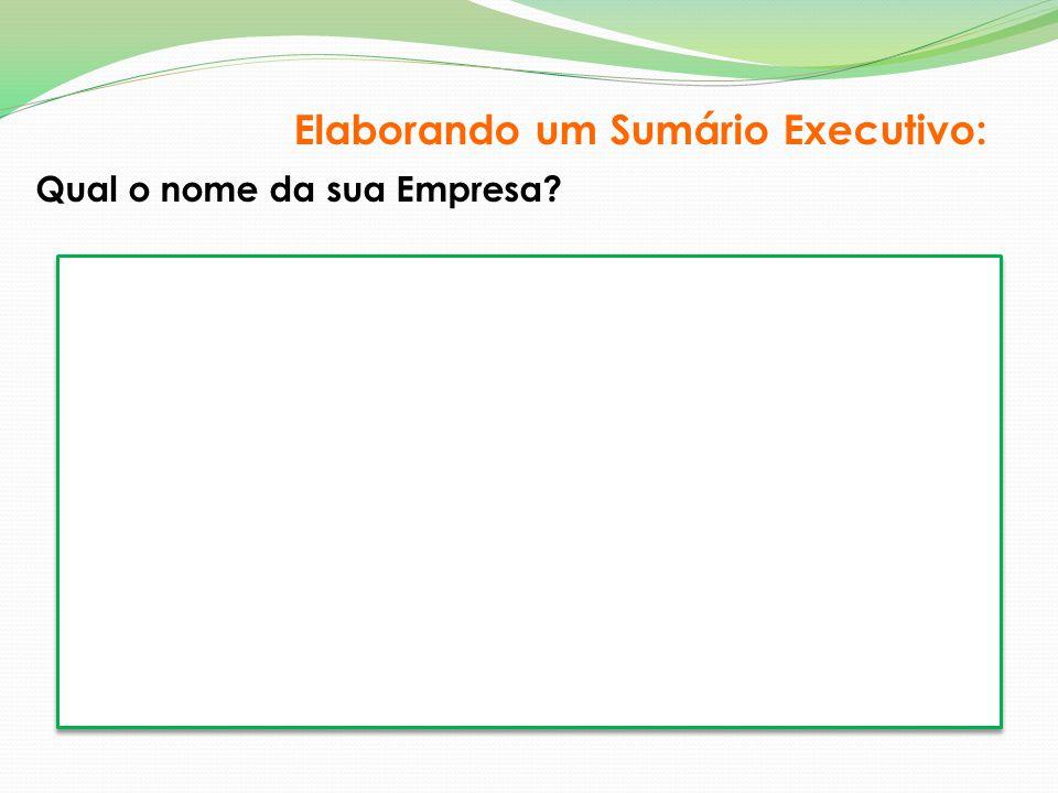 Qual o nome da sua Empresa? Elaborando um Sumário Executivo: