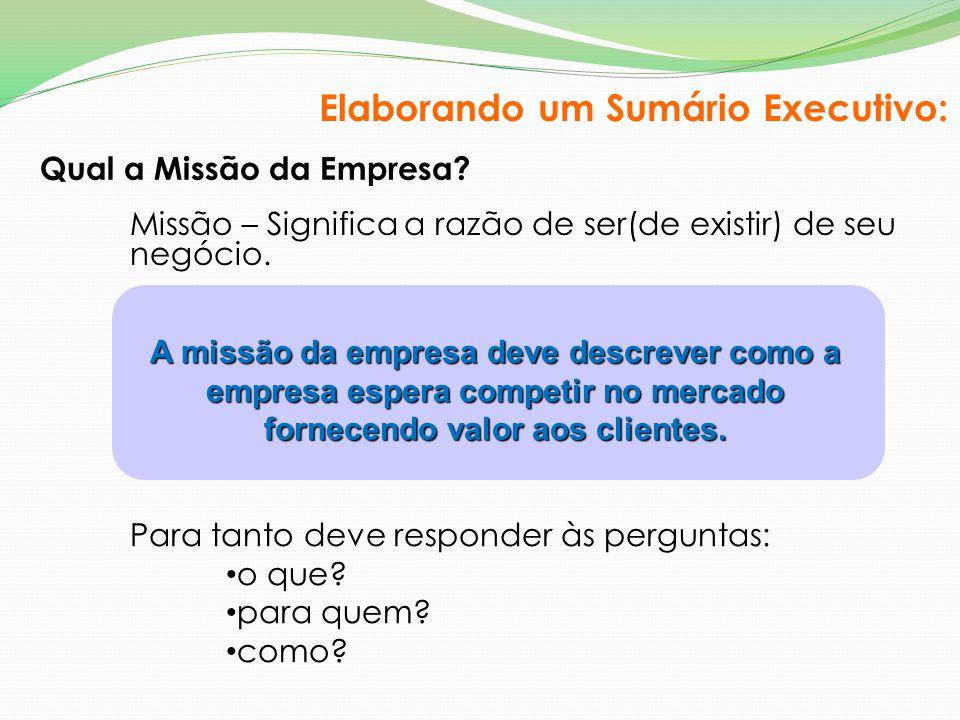 Qual a Missão da Empresa? Missão – Significa a razão de ser(de existir) de seu negócio. A missão da empresa deve descrever como a empresa espera compe