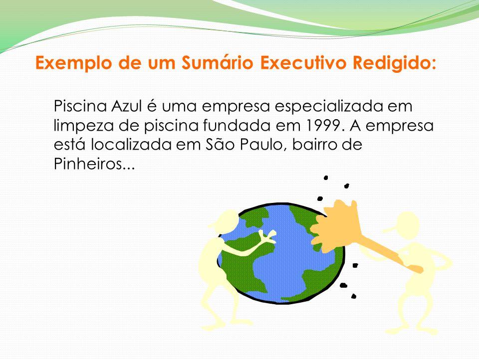 Exemplo de um Sumário Executivo Redigido: Piscina Azul é uma empresa especializada em limpeza de piscina fundada em 1999. A empresa está localizada em