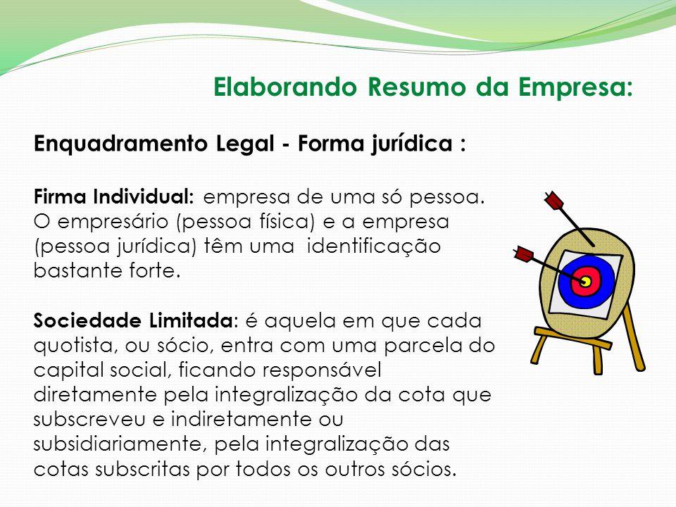 Enquadramento Legal - Forma jurídica : Firma Individual: empresa de uma só pessoa. O empresário (pessoa física) e a empresa (pessoa jurídica) têm uma
