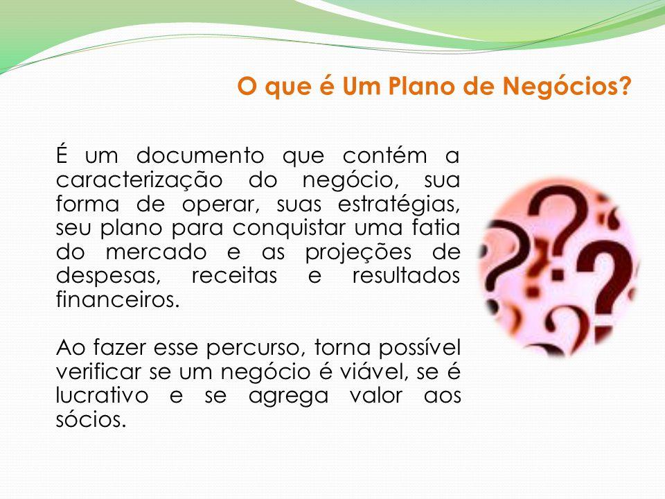 É um documento que contém a caracterização do negócio, sua forma de operar, suas estratégias, seu plano para conquistar uma fatia do mercado e as proj