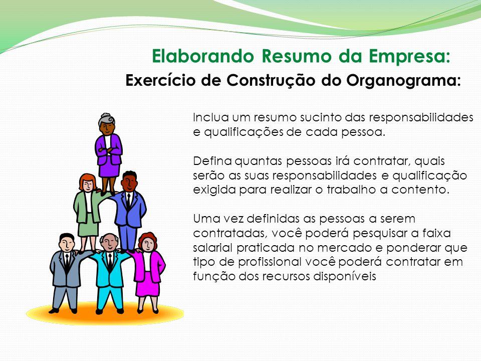 Elaborando Resumo da Empresa: Exercício de Construção do Organograma: Inclua um resumo sucinto das responsabilidades e qualificações de cada pessoa. D