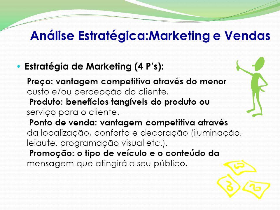 Estratégia de Marketing (4 P's): Análise Estratégica:Marketing e Vendas Preço: vantagem competitiva através do menor custo e/ou percepção do cliente.