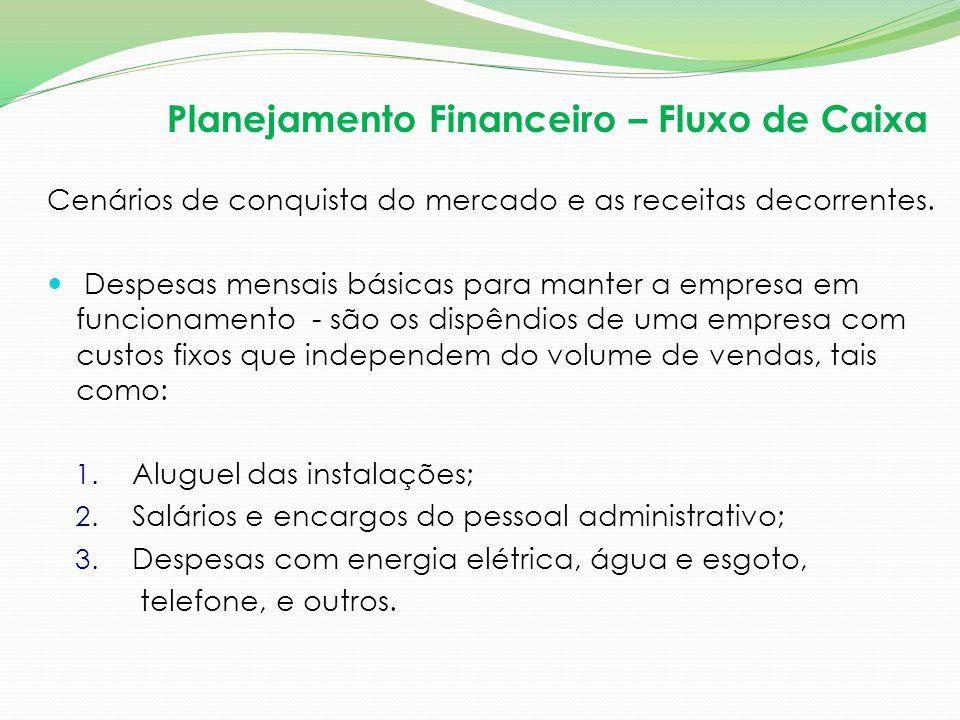 Planejamento Financeiro – Fluxo de Caixa Cenários de conquista do mercado e as receitas decorrentes. Despesas mensais básicas para manter a empresa em