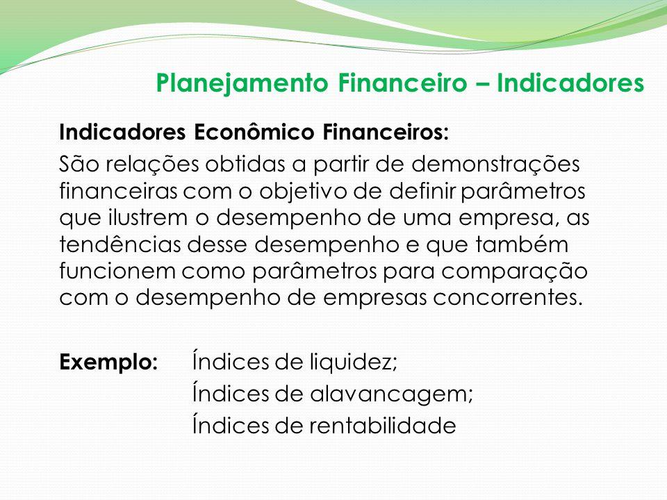 Indicadores Econômico Financeiros: São relações obtidas a partir de demonstrações financeiras com o objetivo de definir parâmetros que ilustrem o dese