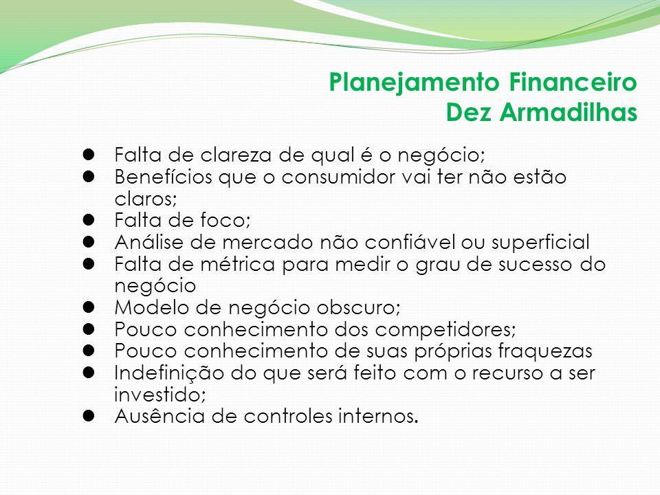 Planejamento Financeiro Dez Armadilhas Falta de clareza de qual é o negócio; Benefícios que o consumidor vai ter não estão claros; Falta de foco; Anál