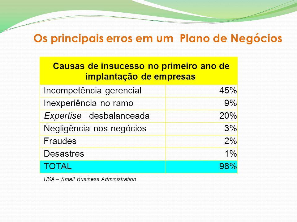 Os principais erros em um Plano de Negócios Causas de insucesso no primeiro ano de implantação de empresas Incompetência gerencial45% Inexperiência no