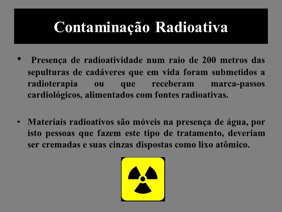 Contaminação Radioativa Presença de radioatividade num raio de 200 metros das sepulturas de cadáveres que em vida foram submetidos a radioterapia ou q