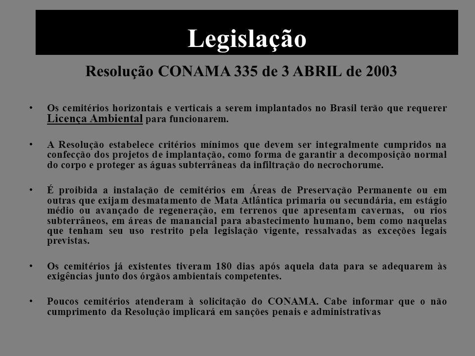 Legislação Os cemitérios horizontais e verticais a serem implantados no Brasil terão que requerer Licença Ambiental para funcionarem. A Resolução esta