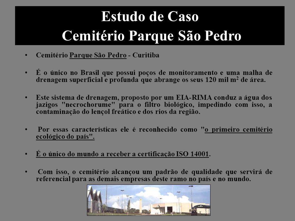 Cemitério Parque São Pedro - Curitiba É o único no Brasil que possui poços de monitoramento e uma malha de drenagem superficial e profunda que abrange