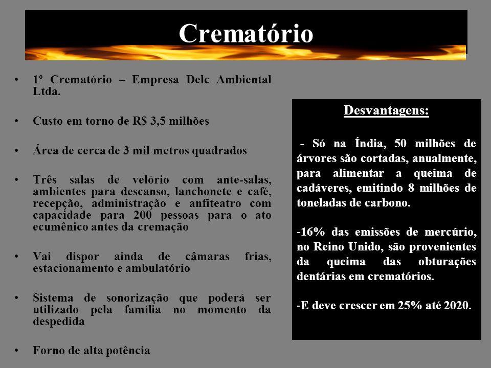 Crematório 1º Crematório – Empresa Delc Ambiental Ltda. Custo em torno de R$ 3,5 milhões Área de cerca de 3 mil metros quadrados Três salas de velório