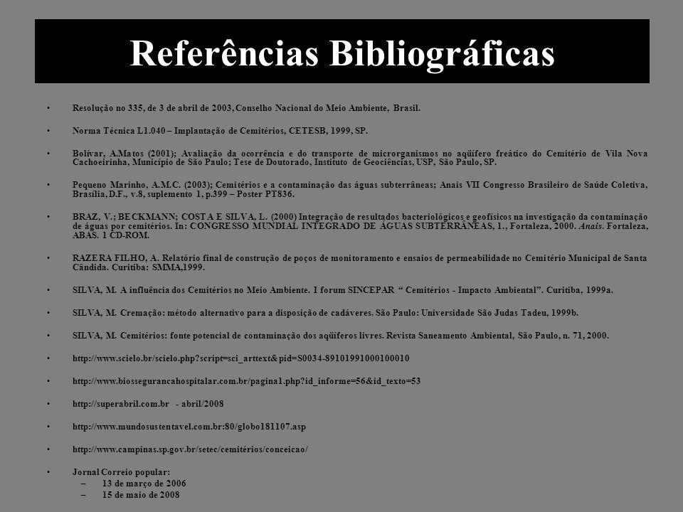 Referências Bibliográficas Resolução no 335, de 3 de abril de 2003, Conselho Nacional do Meio Ambiente, Brasil. Norma Técnica L1.040 – Implantação de