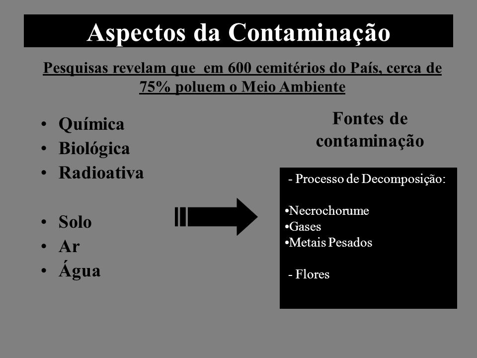 Aspectos da Contaminação Química Biológica Radioativa Solo Ar Água Pesquisas revelam que em 600 cemitérios do País, cerca de 75% poluem o Meio Ambient
