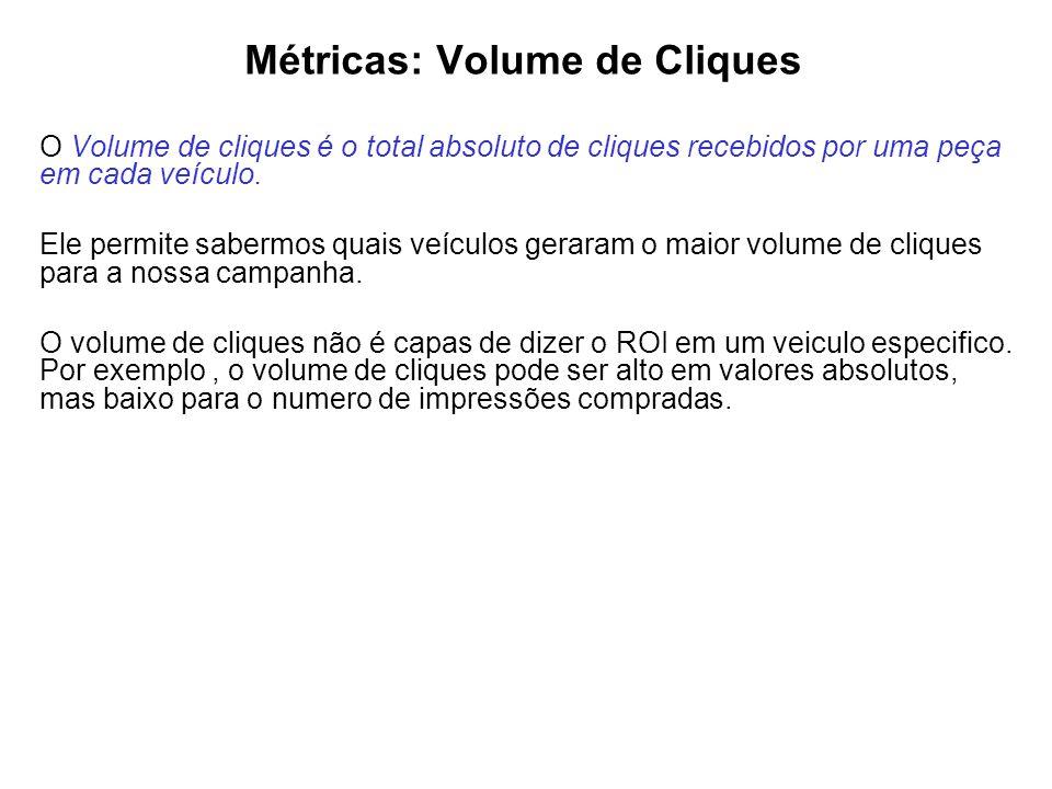 Métricas: Volume de Cliques O Volume de cliques é o total absoluto de cliques recebidos por uma peça em cada veículo. Ele permite sabermos quais veícu
