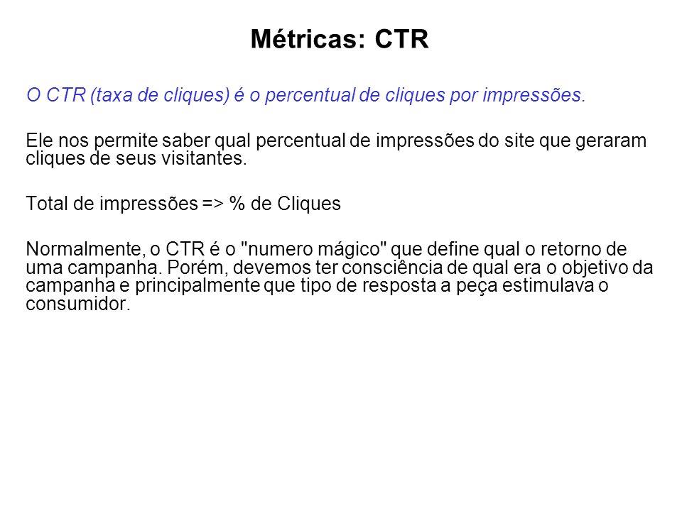 Métricas: CTR O CTR (taxa de cliques) é o percentual de cliques por impressões. Ele nos permite saber qual percentual de impressões do site que gerara