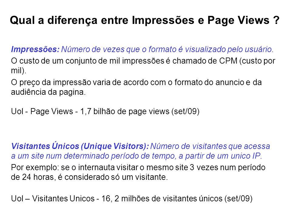 Qual a diferença entre Impressões e Page Views ? Impressões: Número de vezes que o formato é visualizado pelo usuário. O custo de um conjunto de mil i