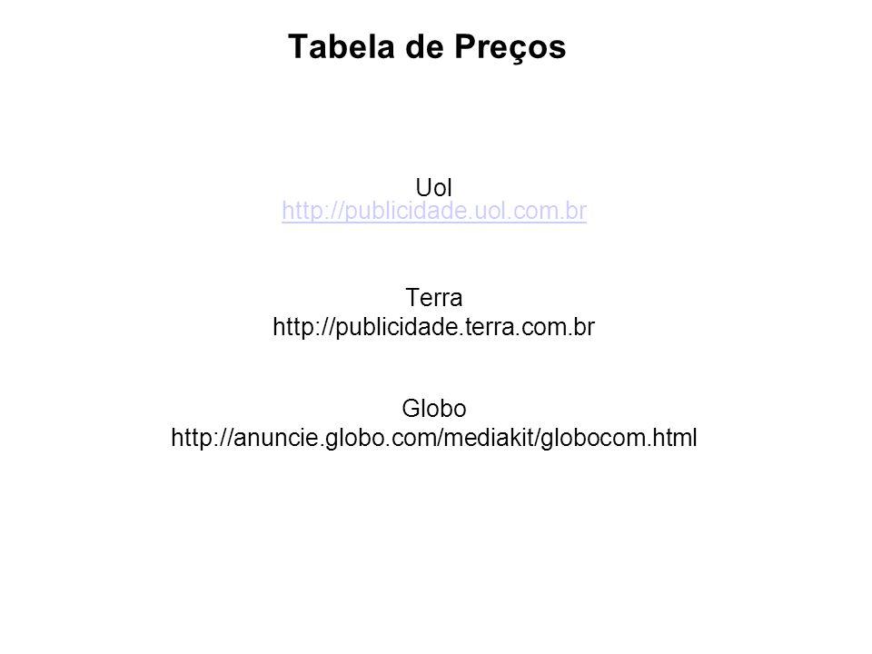 Tabela de Preços Uol http://publicidade.uol.com.br http://publicidade.uol.com.br Terra http://publicidade.terra.com.br Globo http://anuncie.globo.com/