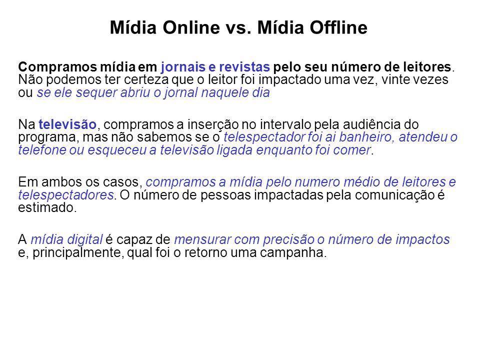Mídia Online vs. Mídia Offline Compramos mídia em jornais e revistas pelo seu número de leitores. Não podemos ter certeza que o leitor foi impactado u