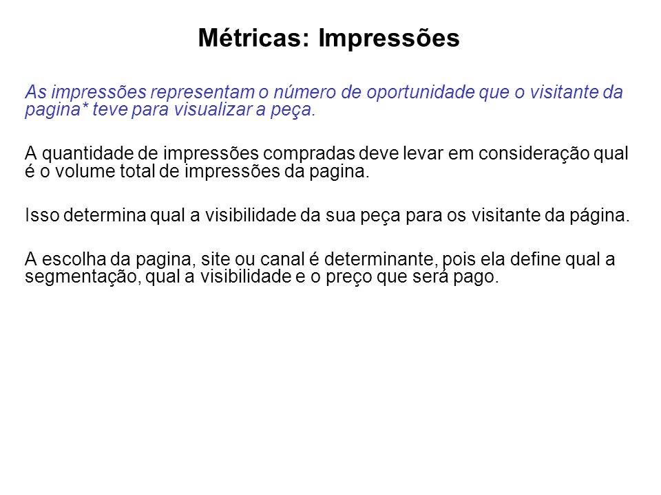 Métricas: Impressões As impressões representam o número de oportunidade que o visitante da pagina* teve para visualizar a peça. A quantidade de impres