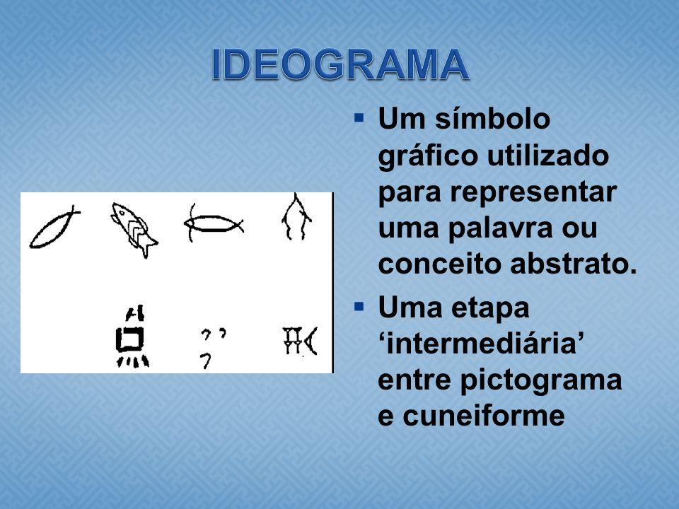  Um símbolo gráfico utilizado para representar uma palavra ou conceito abstrato.  Uma etapa 'intermediária' entre pictograma e cuneiforme
