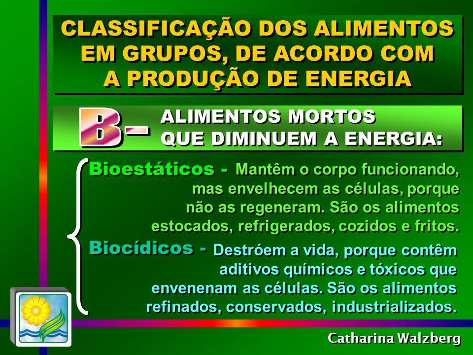 Catharina Walzberg PARA MANTER O EQUILÍBRIO SAUDÁVEL DO ORGANISMO, NOSSO ALIMENTO DEVE CONTER : PARA MANTER O EQUILÍBRIO SAUDÁVEL DO ORGANISMO, NOSSO ALIMENTO DEVE CONTER : No mínimo 60 a 80% de alimentos vivos biogênicos e bioativos No máximo 20 a 40% de alimentos bioestáticos, e somente uma quantidade mínima de alimentos biocídicos, em raras ocasiões (Adaptado do livro Você sabe se alimentar? Dr.