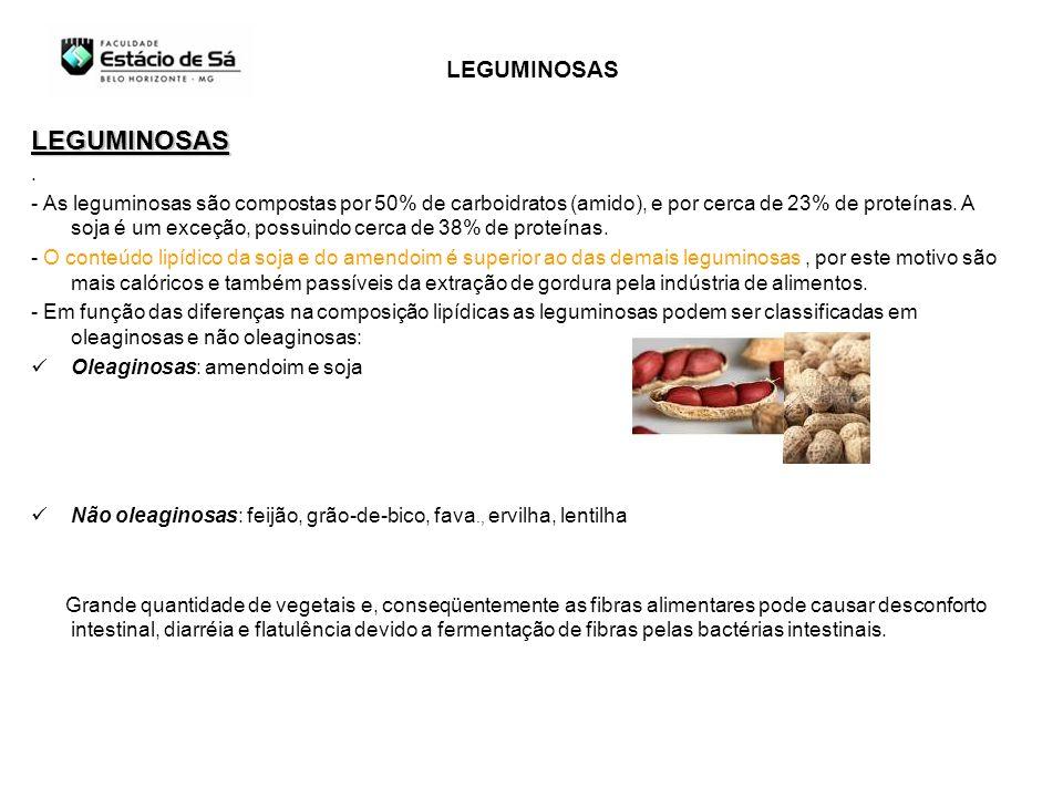 LEGUMINOSAS. - As leguminosas são compostas por 50% de carboidratos (amido), e por cerca de 23% de proteínas. A soja é um exceção, possuindo cerca de