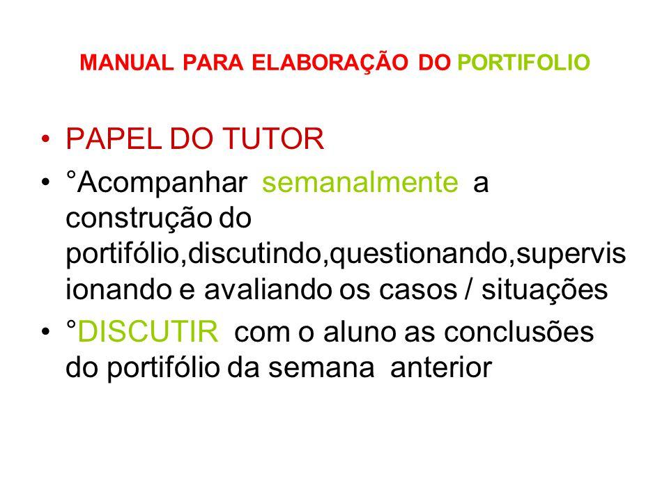 MANUAL PARA ELABORAÇÃO DO PORTIFOLIO PAPEL DO TUTOR °Acompanhar semanalmente a construção do portifólio,discutindo,questionando,supervis ionando e ava