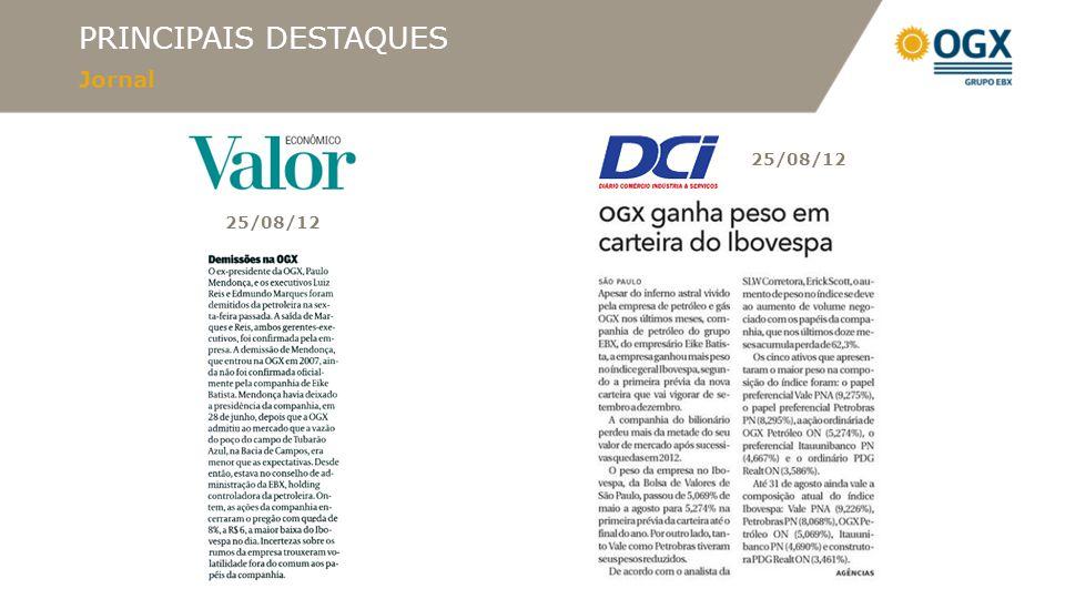 PRINCIPAIS DESTAQUES Jornal 25/08/12