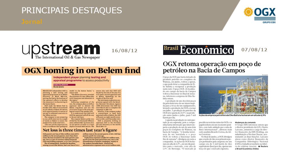 PRINCIPAIS DESTAQUES Jornal 30/08/12
