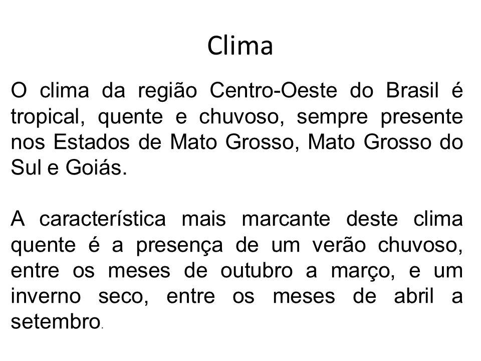 Clima O clima da região Centro-Oeste do Brasil é tropical, quente e chuvoso, sempre presente nos Estados de Mato Grosso, Mato Grosso do Sul e Goiás. A