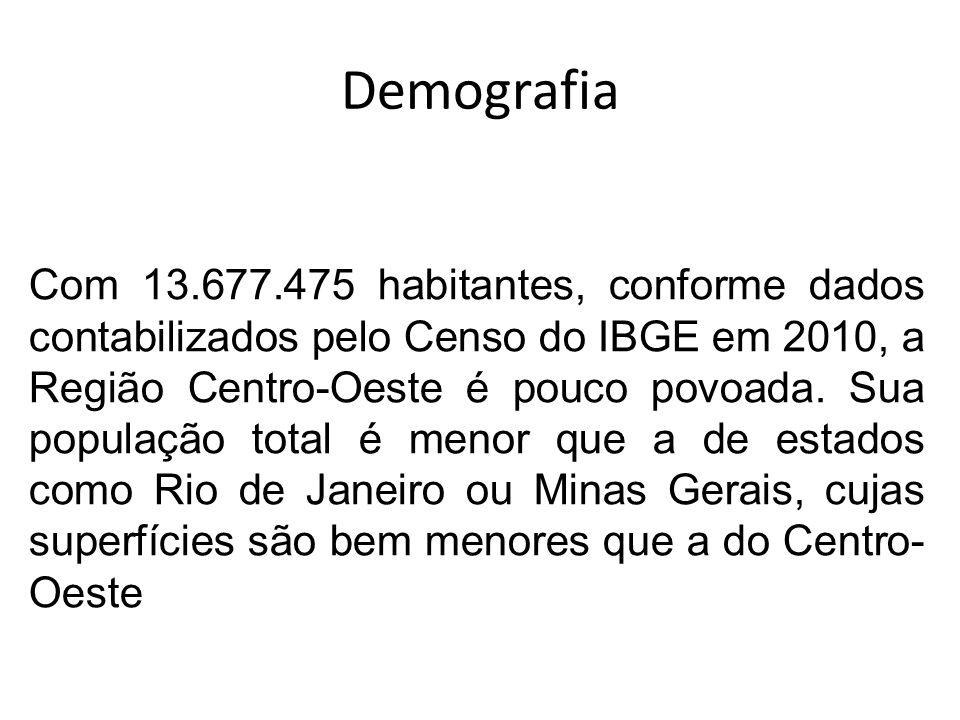 Demografia Com 13.677.475 habitantes, conforme dados contabilizados pelo Censo do IBGE em 2010, a Região Centro-Oeste é pouco povoada. Sua população t
