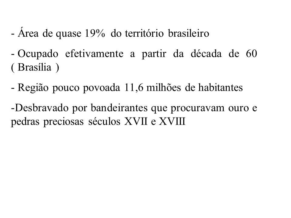 - Área de quase 19% do território brasileiro - Ocupado efetivamente a partir da década de 60 ( Brasília ) - Região pouco povoada 11,6 milhões de habit