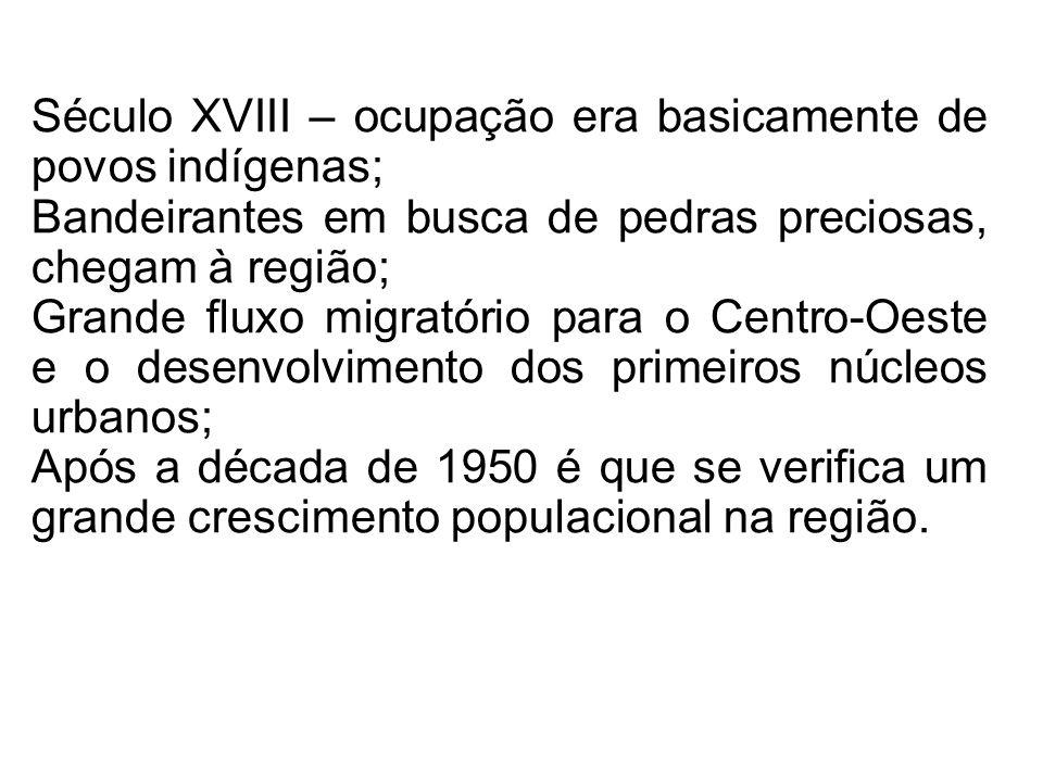 Século XVIII – ocupação era basicamente de povos indígenas; Bandeirantes em busca de pedras preciosas, chegam à região; Grande fluxo migratório para o