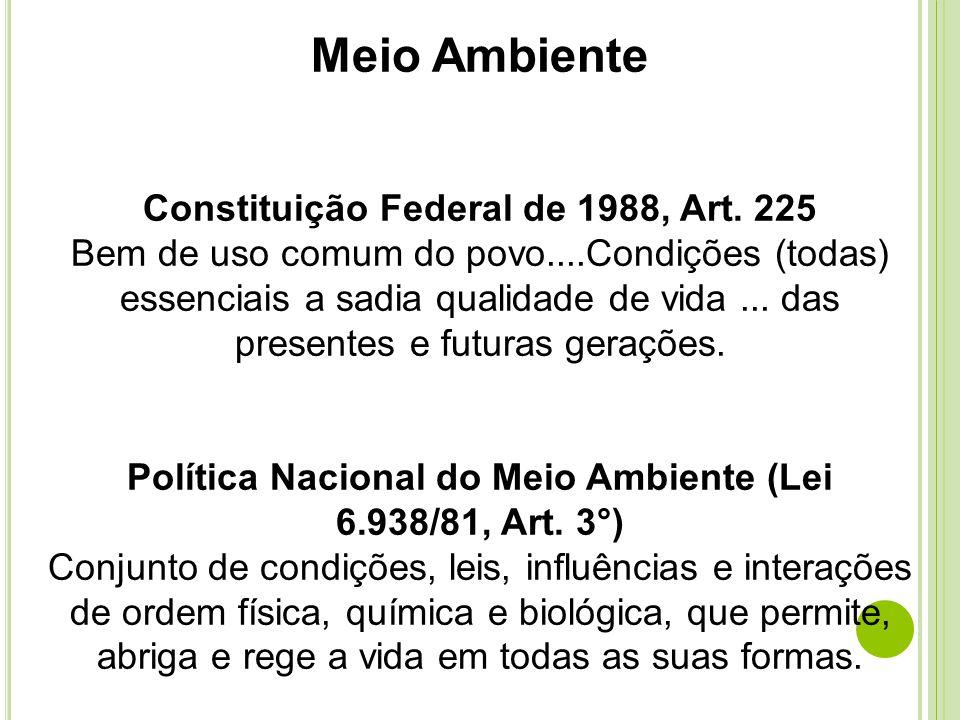 Meio Ambiente Constituição Federal de 1988, Art. 225 Bem de uso comum do povo....Condições (todas) essenciais a sadia qualidade de vida... das present