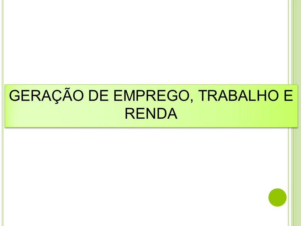 GERAÇÃO DE EMPREGO, TRABALHO E RENDA