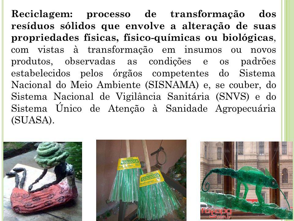 Reciclagem: processo de transformação dos resíduos sólidos que envolve a alteração de suas propriedades físicas, físico-químicas ou biológicas, com vi